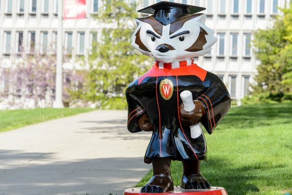 Bucky in graduation robes