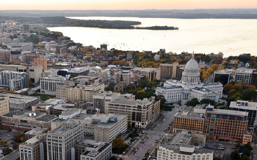 Aerial view of capitol and lake