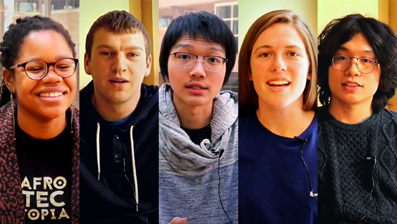 Five student faces
