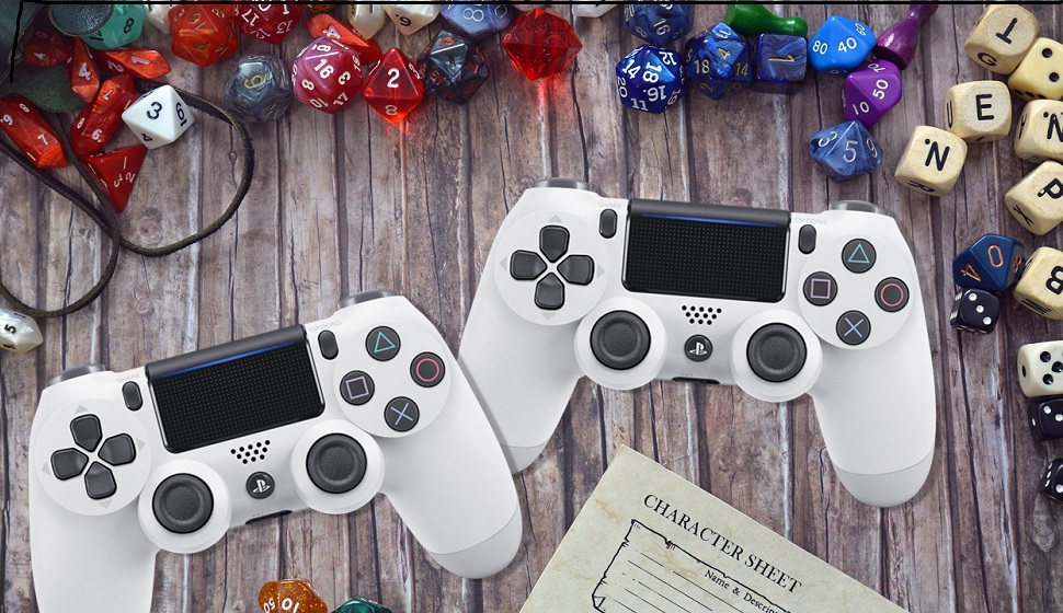 Video game controllers, dice, scrabble-like tiles